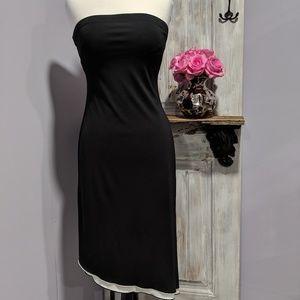 Express asymmetrical black/white strapless dress